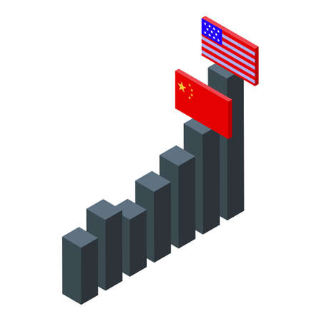 Usa China comparison icon. Isometric of Usa China comparison vector icon for web design isolated on white background