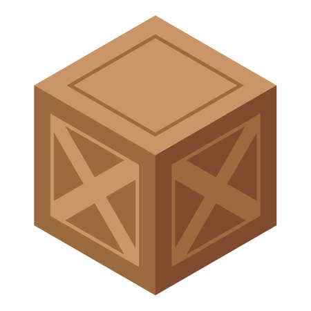 Wood crate box icon, isometric style