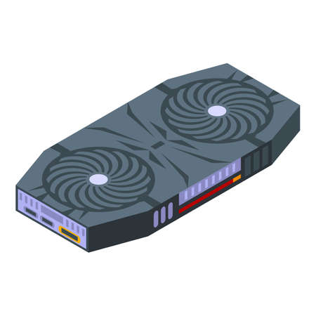 Equipment graphic card icon, isometric style