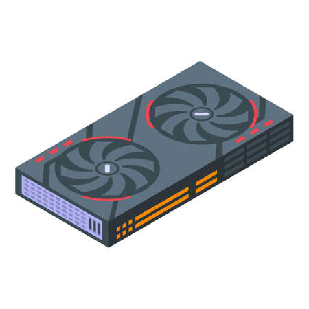 Component graphic card icon, isometric style
