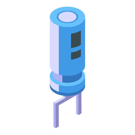 Electric capacitor icon, isometric style 向量圖像
