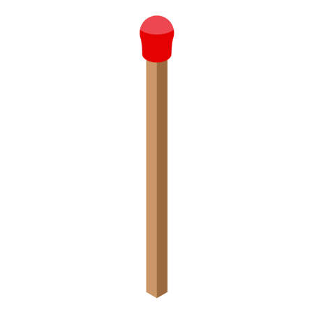 Smoking pipe wood match icon, isometric style
