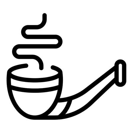 Wood smoking pipe icon, outline style