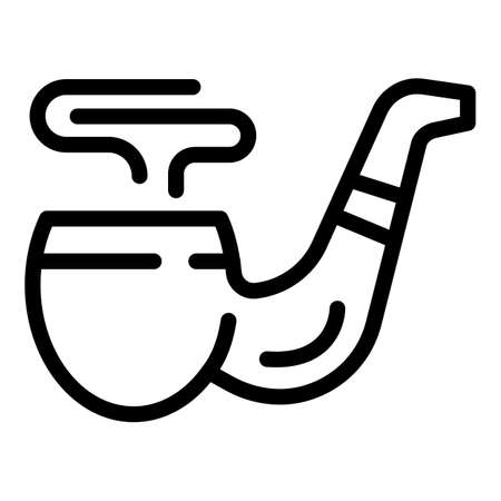 Wooden smoking pipe icon, outline style 矢量图像