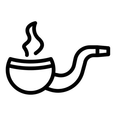 Hand made smoking pipe icon, outline style 矢量图像
