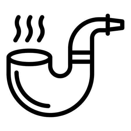 Man smoking pipe icon, outline style