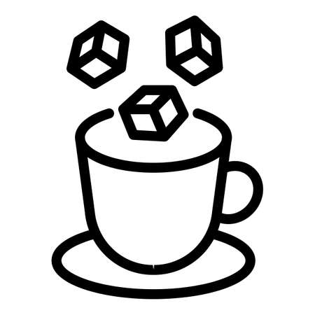 Tea sugar cubes icon, outline style