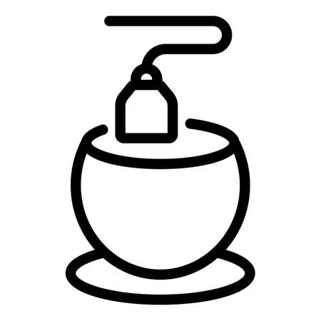 Tea bag cup icon, outline style Çizim