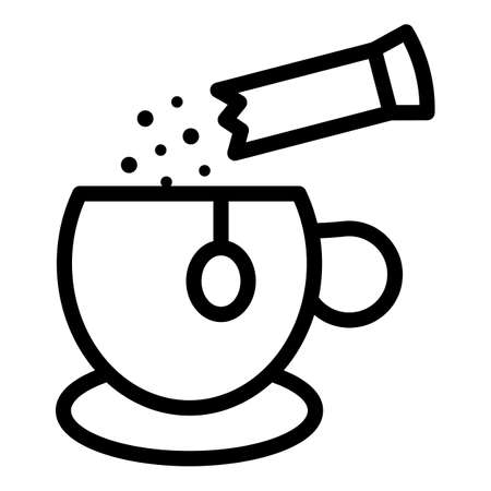 Sugar stick tea cup icon, outline style