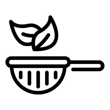 Tea plant pot icon, outline style Çizim