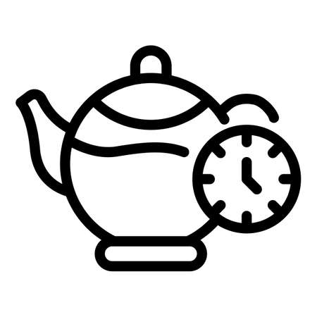 Glass tea pot icon, outline style Çizim