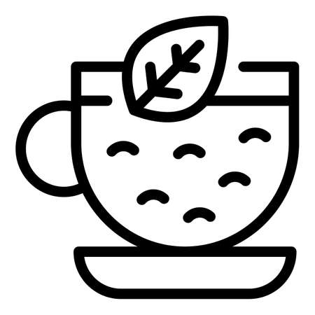 Warm tea cup icon, outline style