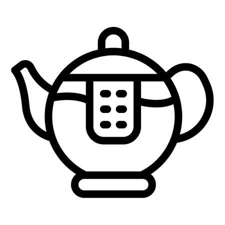 Transparent tea pot icon, outline style