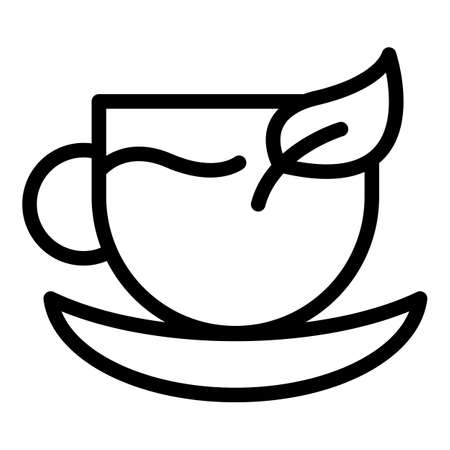 China tea cup icon, outline style Vettoriali