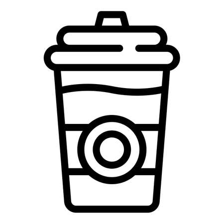 Street tea plastic cup icon, outline style
