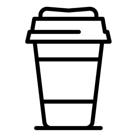 Hot coffee plastic cup icon, outline style