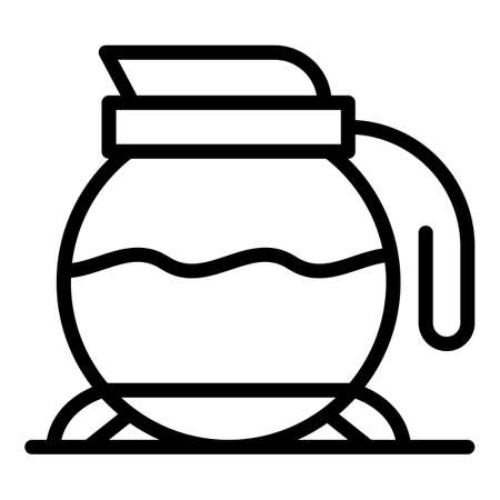 Breakfast coffee glass pot icon, outline style