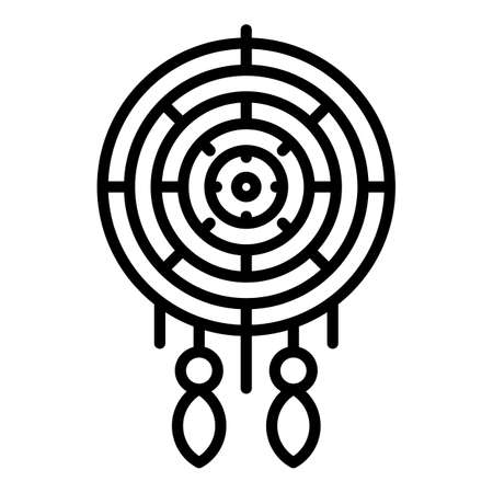 Bed dream catcher icon, outline style