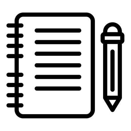 Notebook and pencil icon, outline style