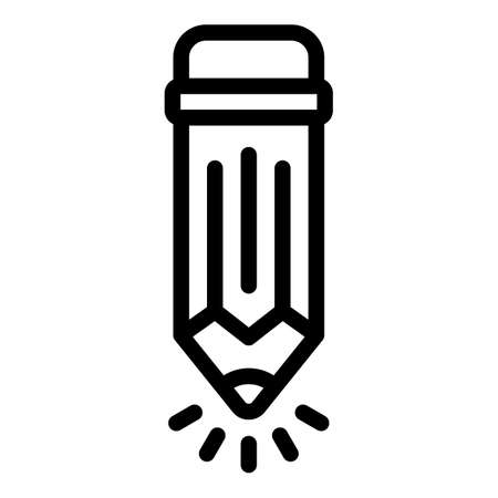 Creative pencil icon, outline style 矢量图像