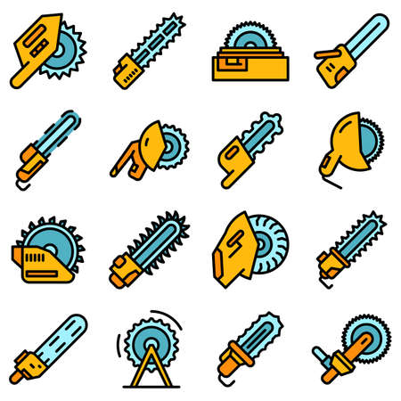 Electric saw icons set vector flat