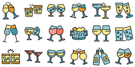 Cheers icons set vector flat