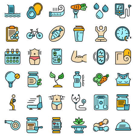 Healthy lifestyle icons set vector flat