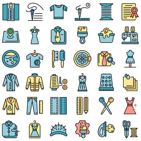 Clothing repair icons set vector flat