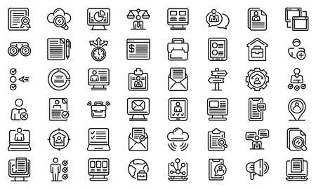 Online job search icons set, outline style