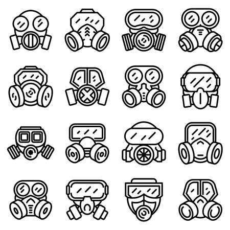 Gas mask icons set, outline style