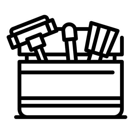 Pool tools icon, outline style