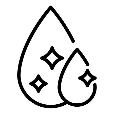 Clear water drops icon, outline style