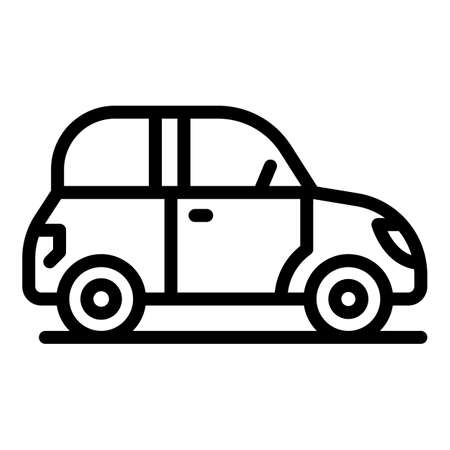 Auto car icon, outline style 向量圖像