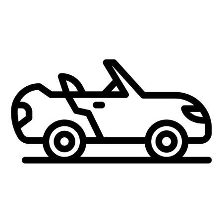 Convertible car icon, outline style