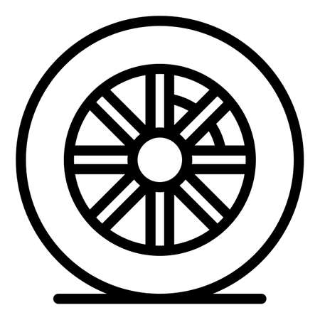 Rubber tire icon, outline style Illustration