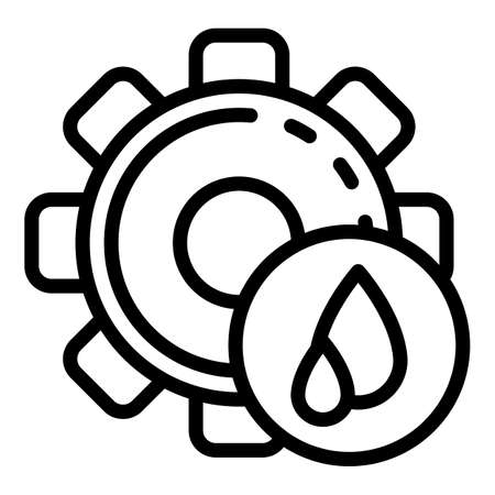 Gear oil drop icon, outline style