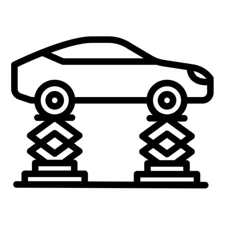 Car on lift icon, outline style