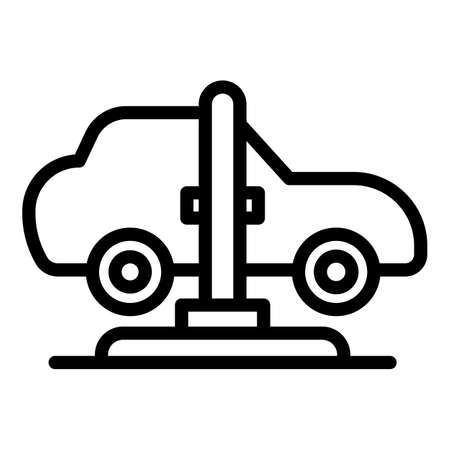 Car lift service icon, outline style 矢量图像
