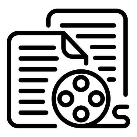 Reel scenario icon, outline style
