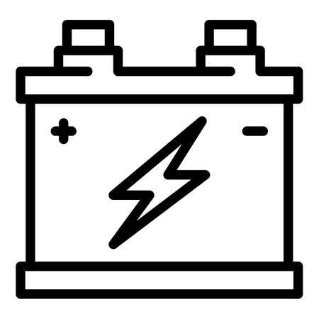 Power car battery icon, outline style