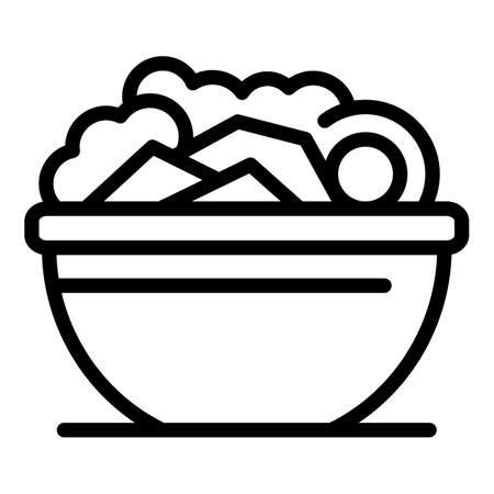 Salad bowl icon, outline style Vector Illustratie