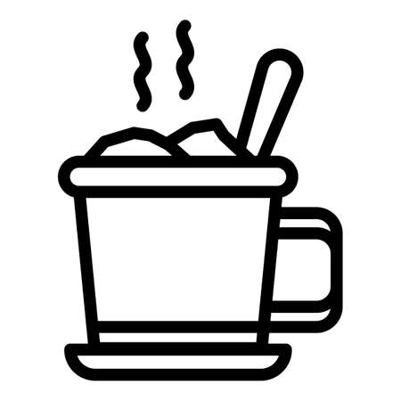 Cup of hot food icon, outline style