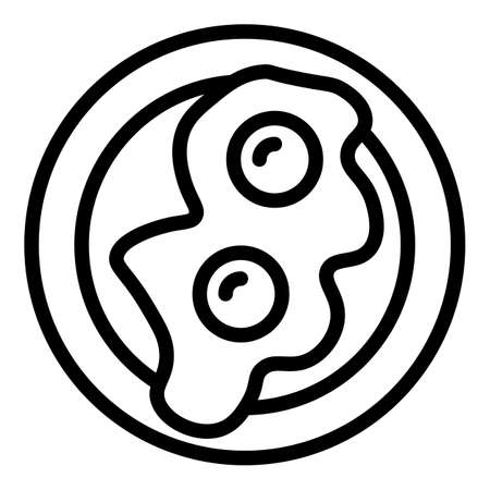Fried eggs icon, outline style