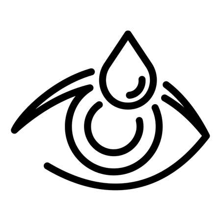 Eye with water drop icon, outline style 向量圖像