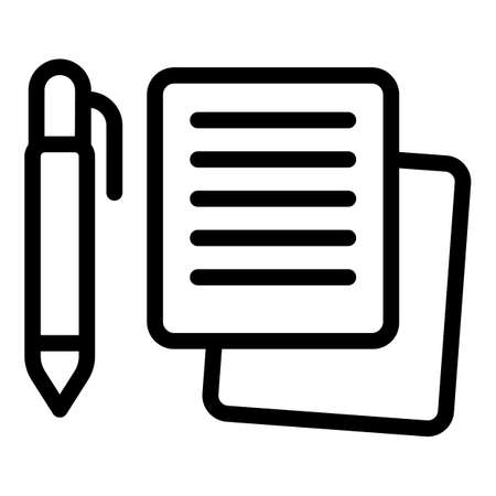 Writing pen icon, outline style Vettoriali