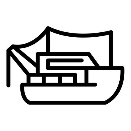 Fishing ship icon, outline style 矢量图像