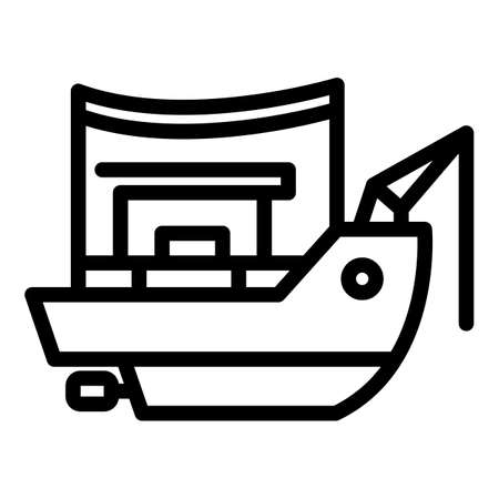 Catch fishing ship icon, outline style