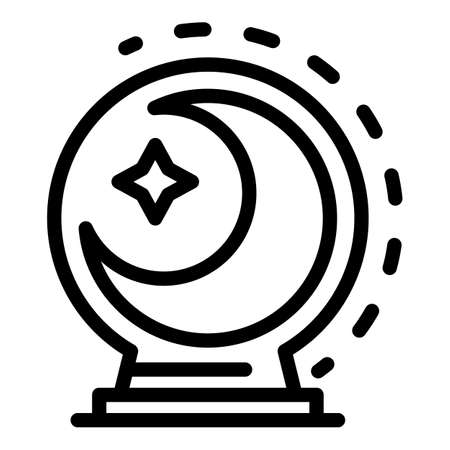 Moon glass globe icon, outline style Stock Illustratie