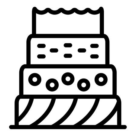 Baked home cake icon, outline style