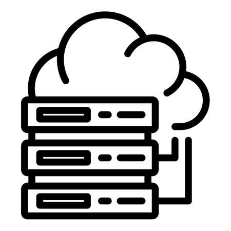 Server data cloud icon, outline style